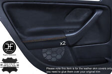 YELLOW STICH 2X REAR DOOR CARD TRIM LEATHER COVERS FITS VW GOLF MK5 V 04-09 5DR