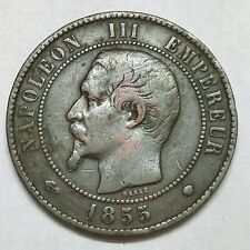 1855 France Empire Emperor Napoleon III 10 Centimes Top Grade Coin F-372