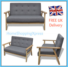 2 Seater Wooden Retro Sofa Modern GREY Couch Lounger Living Room Armchair Chair