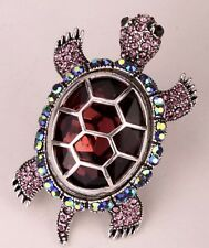 Tone Turtle Fashion Stretch Ring New Bright Purple & Borealis Rhinestone Silver