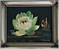 """Signed Oil Painting Still Life Water Lily on Canvas Joyce Everitt 12x10"""""""