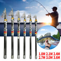 Spinning Telescopic Fishing Rod Pole Set Carbon Fiber Ultra Light Tackle Tools