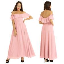 Women's Bridesmaid Long Dress Evening Ruffled Party Prom Chiffon Wedding Gown