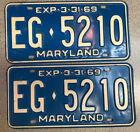 Maryland 1969 License Plate Pair # EG•5210