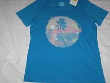 Womens M LIFE IS GOOD Rise & Shine Beach Palm Trees Ocean S/S Tee Shirt Blue NWT