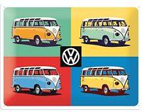 VW Volkswagen Camper Quattro Colori Goffrato Insegna Acciaio 400mm x 300mm (Na)
