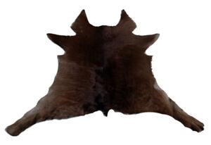 """Cowhide Rugs Calf Hide Cow Skin Rug (27""""x32"""") Dark Brown Beige CH8001"""