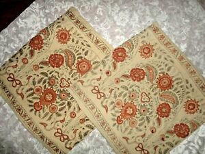 POTTERY BARN TAN RUST LEAVES FLORAL EMBROIDERED (2) SQUARE PILLOW COVERS 20 X 20