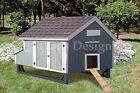 4'x7' Gable Poultry Chicken House / Coop Plans, Material List Included #90407MG