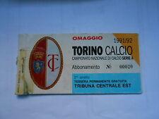 abbonamento TORINO CALCIO STAGIONE 1991-92 - 2° ANELLO TRIB.CENTRALE EST