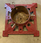 Vintage Art Deco Christmas Feather Tree Stand Cast Iron  Red