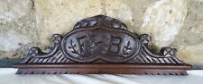 "18"" French Antique Pediment Hand Carved Oak Wood Crest Fronton Initials FB"