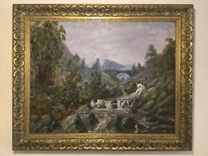 Antique vintage gilt framed signed original oil painting on canvas Fly fishing
