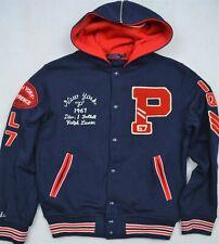 Polo Ralph Lauren Hooded Fleece Varsity P-Wing Letterman Jacket M NWT $498