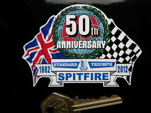 TRIUMPH SPITFIRE 50th ANNIVERSARY Flags & Scroll classic sports car sticker