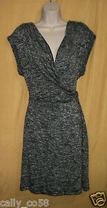 Max Edition women's black ecru stretch twisted sweater dress top V stretch $98