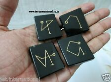 Black Jasper Arch Angel Symbol Engraved A+ Healing Sets Chakra Balancing Pouch