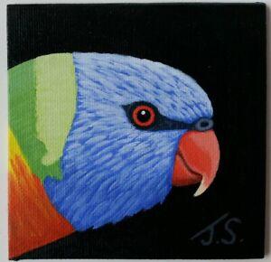 "Mini Painting 4 X 4 Acrylic - Original Art - ""Rainbow Lorikeet"""