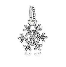 DIY 925 Silver Crystal Snowflake Charm European Beads Fit Necklace Bracelet !!