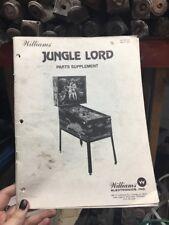 Williams JUNGLE LORD Pinball Machine Manual - PART SUPPLEMENT-good used original