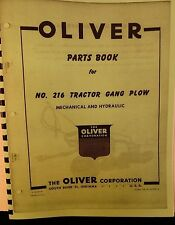 1960 Oliver  Parts Book For #216 Tractor Gang Plow  Mechanical & Hydraulic