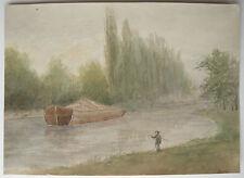 Belle AQUARELLE Ancienne Paysage Rivière Bateau Pêcheur 1920 Alsace Lorraine #2