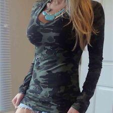 Gr.S-2XL Damen Camouflage Slim Freizeit Tops T-shirt Oberteil Bluse Damenhemd
