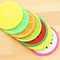 7x Durable Silicone Fruit Coaster Silicone Tea Cup Drink Holder Mat Placemat Pad