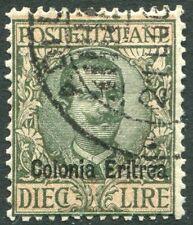 ERITREA-1916-21 10 Lira Sage Green & Rose Sg 46 VERY FINE USED V20963