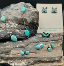 Vintage Sterling Silver Turquoise Stud Earrings Lot With Necklace Navajo Zuni...