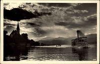 Maria Wörth Kärnten Österreich s/w AK 1947 gelaufen Wörther See Dampfer Boot