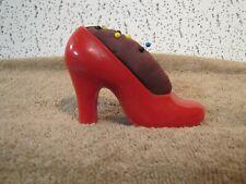 Vintage Red High Heel Shoe Pin Cushion Hard Plastic