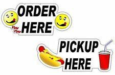2 Fast Food Pickup Order Window' Decals for Carnival Food Trailer or Restaurant