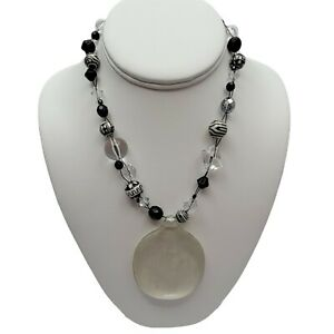Chico's Black White Glass Beads Necklace Chunky Acrylic Medallion Statement Vtg