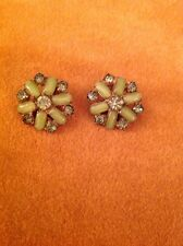 Vintage Estate Gold Tone Green Glass And Rhinestone Round Clip Earrings