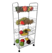4 Tier Fruit & Veg Storage Trolley Rack On Wheels  Kitchen Food Organiser Basket