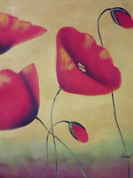 Red Poppies Abstract Flowers Large Oil Painting Canvas Original Yellow Modern