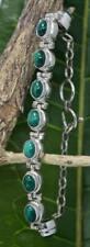 Handmade Sterling Silver .925 Bali  9x Oval  Malachite Bracelet w  #1