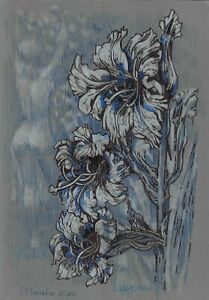 original drawing 41 х 28.3 сm 29MO art samovar Pastel sketch flowers Signed 2020