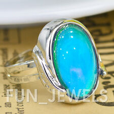 New Awesome Oval Mood Ring W/Feather Multi Colored Change Retro Free Color Chart