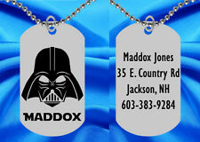 DARTH VADER Dog Tag Necklace for Kids, Personalized FREE with NAME! Star Wars