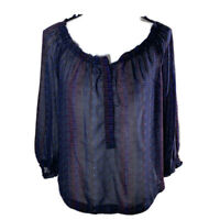 American Eagle Outfitters Womens Top Scoop Neck Sheer 3/4 Sleeve Blue Size Small