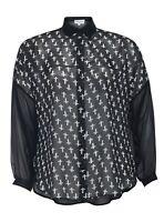 Ladies 16-24 Cross Kimono Shirt Blouse Sheer Top Oversize Style Black White