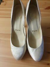 Christian Louboutin Authentic Cream And Diamonte Heels Size 39 UK 6
