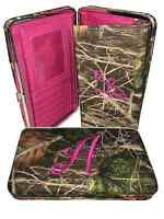 "Soft Camo Initials ""A""-""T"" Thick Flat Wallet Clutch Purse Hot Pink Camoflauge"