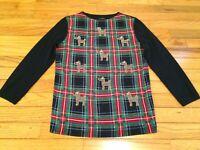 EUC Women's XS TALBOTS Merino Wool Red Green Plaid Rhinestone Yorkie Dog Sweater