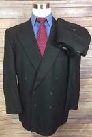 Joseph Abboud Gray Birdseye Classic Fit Double Breasted Wool Suit Mens 44R 36x28