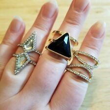 Three Statement Rings, size 8.5 - 9.25 multi band rings