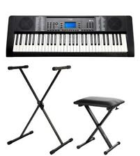 61-TASTEN KEYBOARD E-PIANO 128 SOUNDS USB MP3 REC STÄNDER HOCKER SET SCHWARZ