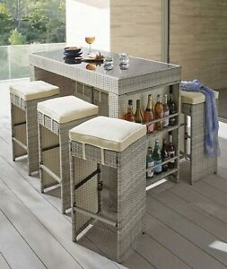 6 Seater Rattan Outdoor Bar With Stools & Glass Top Table Drink Storage Shelves